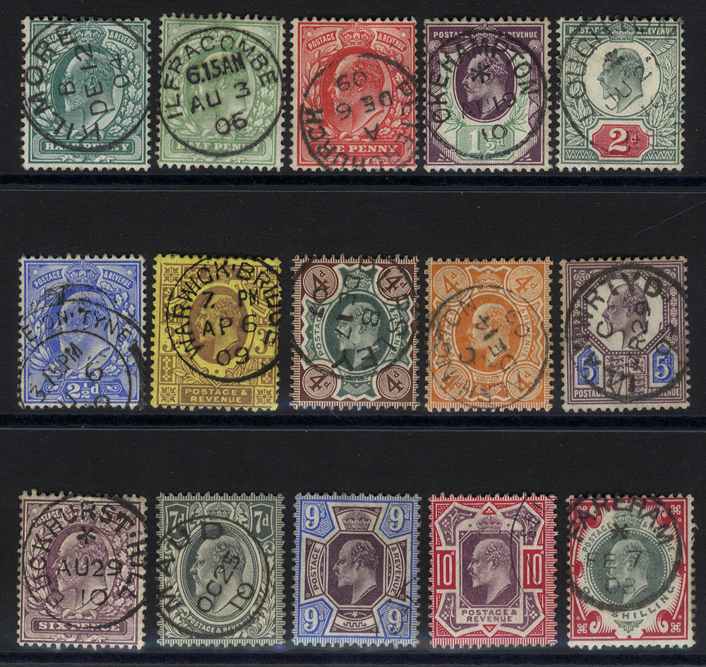 1902 DLR Printing basic set of 15 - clear dated c.d.s examples.
