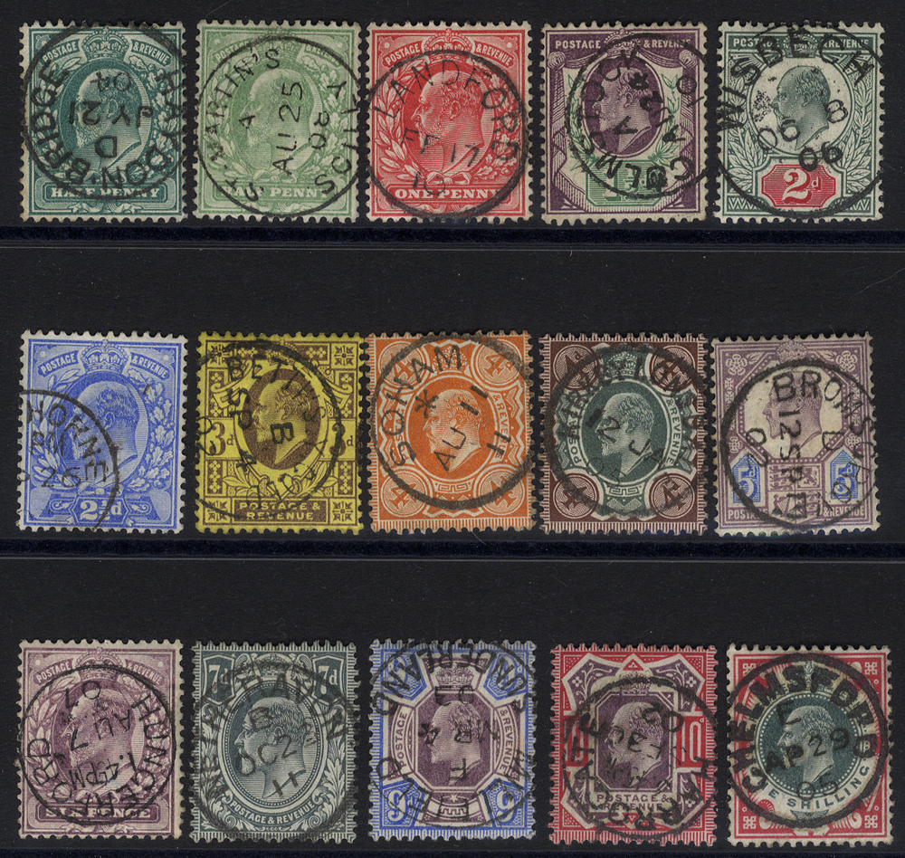 1902 DLR Printing basic set of 15 with c.d.s. cancels.