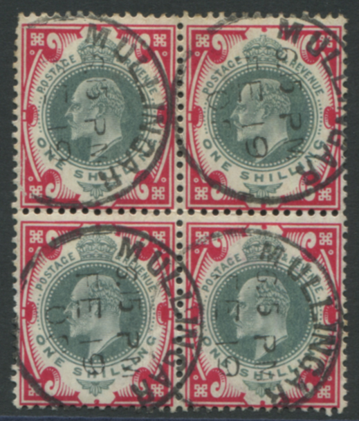 1905 DLR 1s dull green & carmine, block of four on chalky paper, Mullinger steel c.d.s's