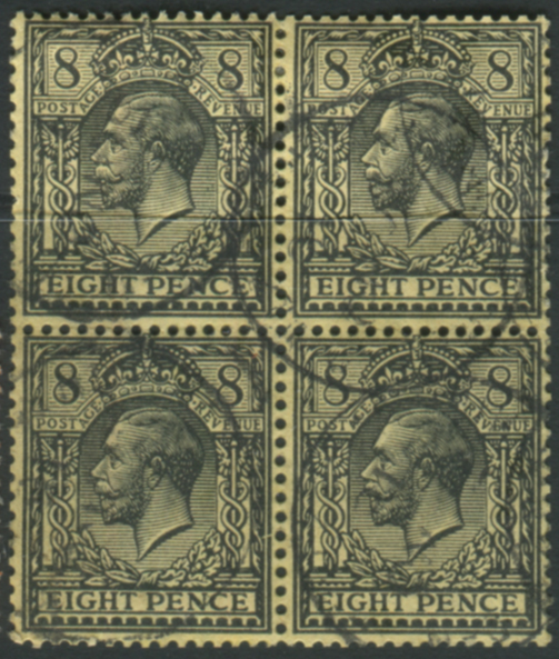 1913 8d black/yellow block of four - steel c.d.s. cancels