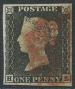 1840 1d black - Plate 1a HE