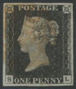 1840 1d black - Plate 1a SL