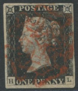 1840 1d black - Plate 1b HL