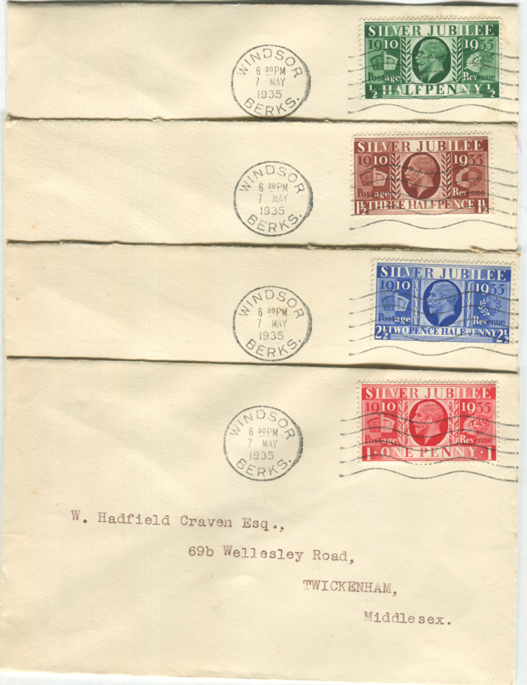 1935 Silver Jubilee set of four on separate covers