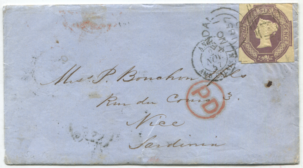 1857 cover from Kendal to Nice in Sardinia, franked 6d Embossed
