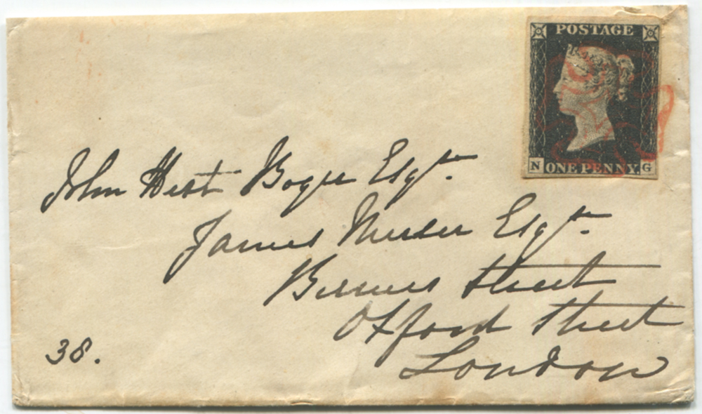 1840 small envelope from Plymouth to London, franked Plate 2 NG