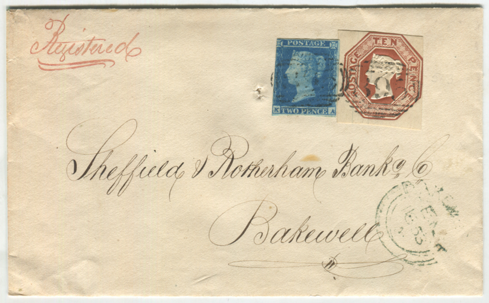 1853 registered cover from Wirksworth to Bakewell, franked 1841 2d + 10d Embossed