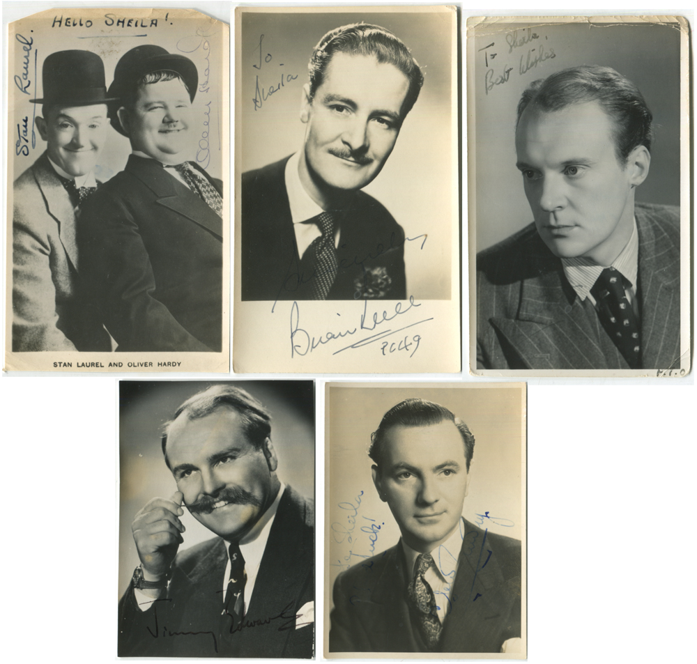 COMEDY - selection of signatures incl. Laurel & Hardy, Frankie Howard, Jimmy Edwards etc.