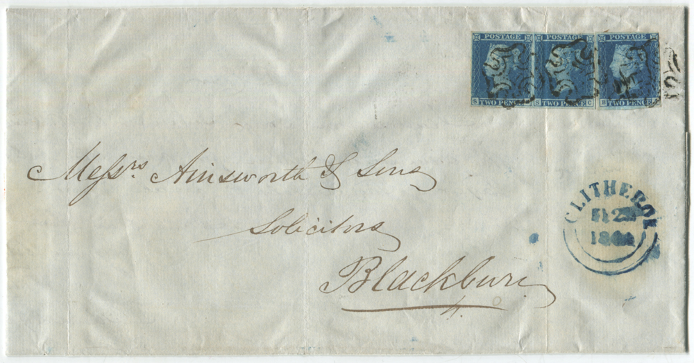 1841 2d blue Plate 3 single stamp BA & SB-SC,  tied by black Maltese Cross cancels to a large legal size lettersheet