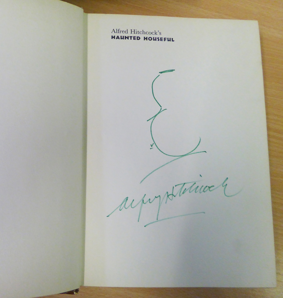 HITCHCOCK, ALFRED signature and hand drawn sketch in Alfred Hitchcock's Haunted Houseful hardback book.