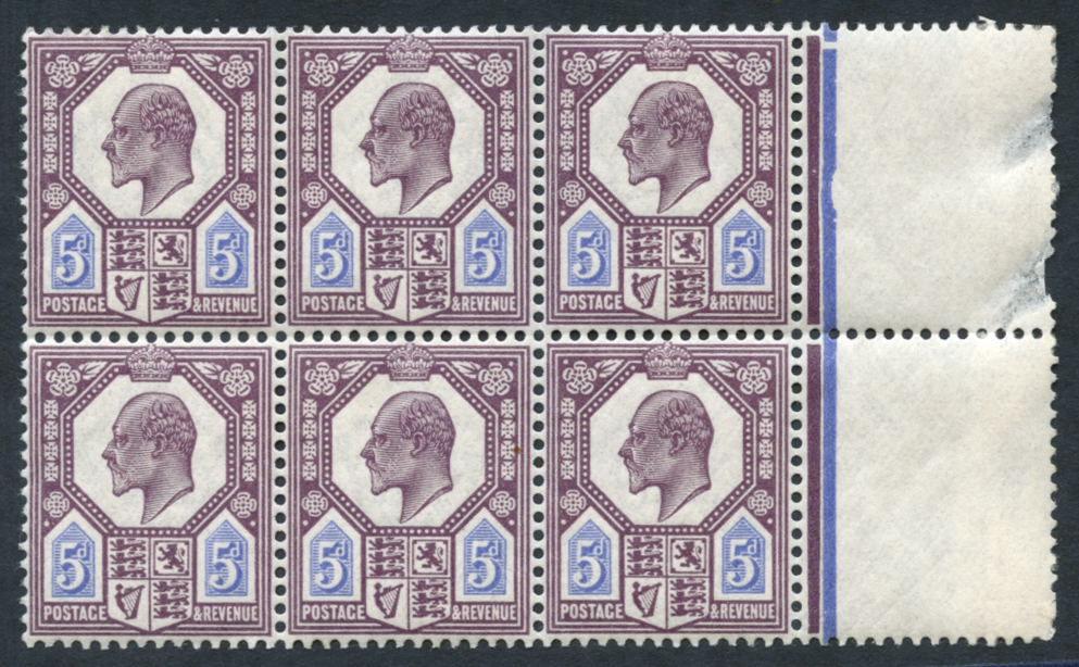 1911-13 5d deep dull reddish purple & bright blue, marginal, UM block of six, SG.294
