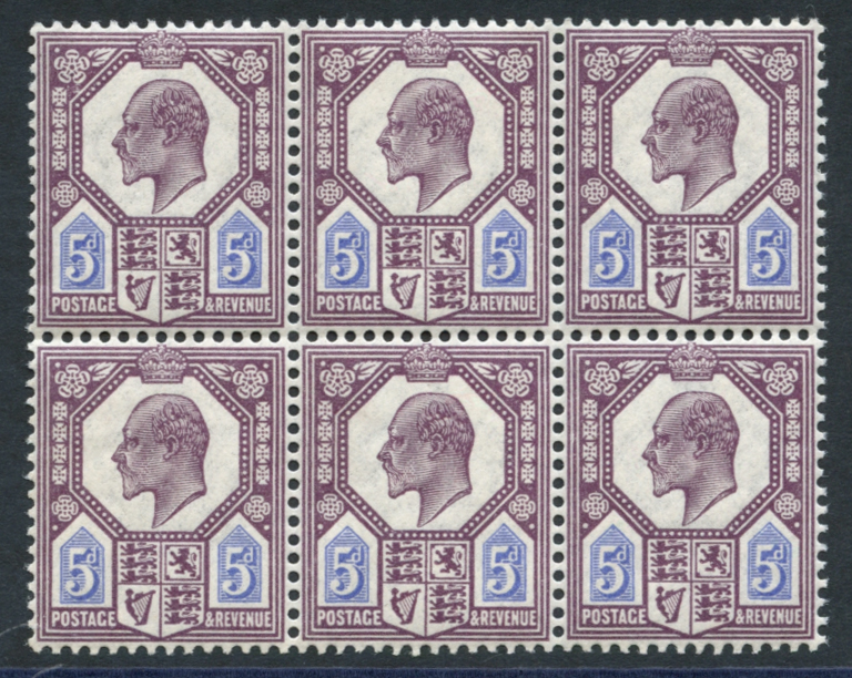 1911-13 5d deep dull reddish purple & bright blue, UM block of six, SG.294