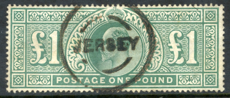 1902 £1 dull blue green, Jersey rubber circular cancel, SG.266