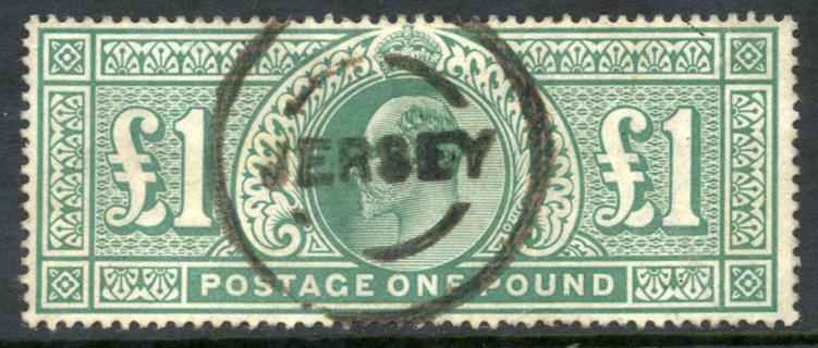 1902 £1 dull blue green, Jersey rubber circular cancel, SG.266