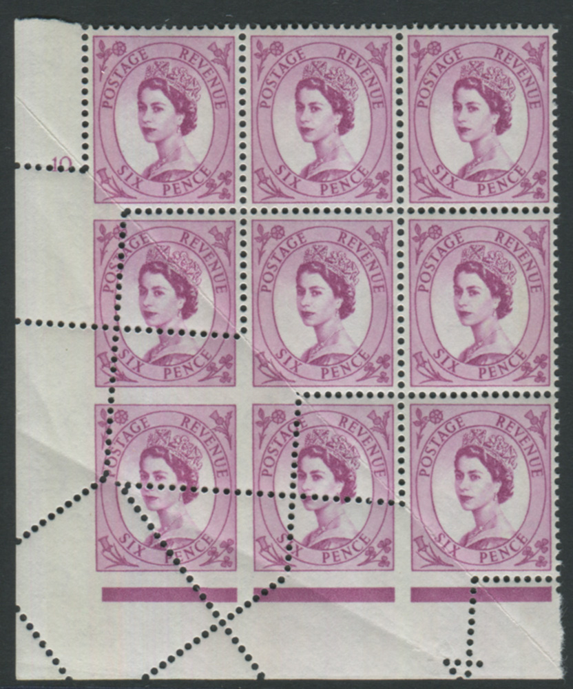 1960 Mult Crown Phosphor 6d Wilding - spectacular miss-perfing caused by paper fold, SG.617 variety