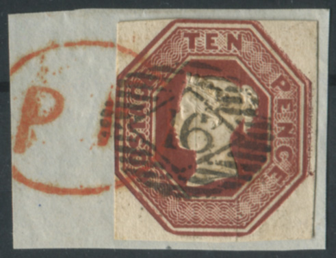 1848 10d deep red-brown, tied to piece, London barred oval '16' numeral