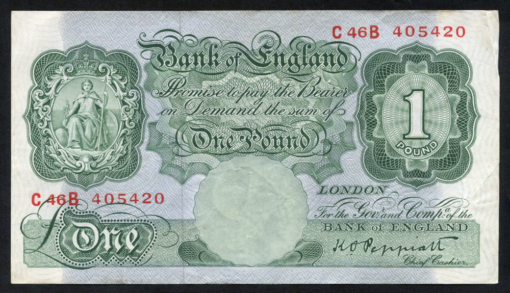 1948 Peppiatt £1 green, VF, Dugg B260