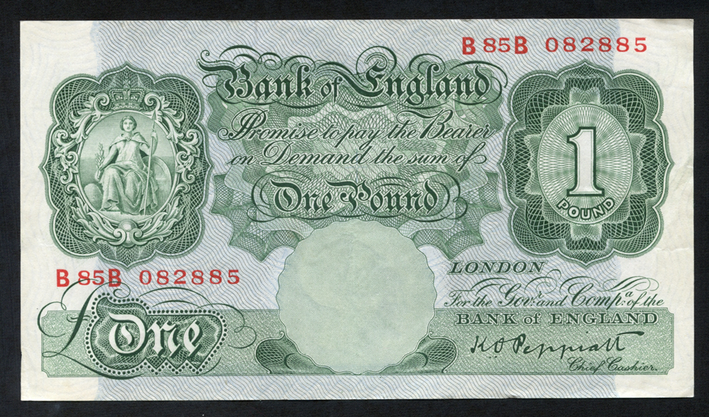1948 Peppiatt £1 green, VF++, Dugg B260