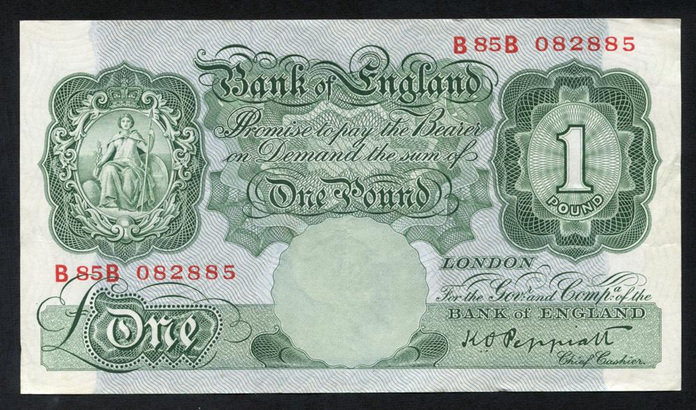1948 Peppiatt £1 green, VF++, Dugg B260