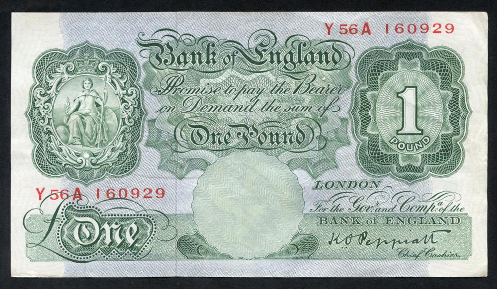 1948 Peppiatt £1 green, VF, Dugg B260