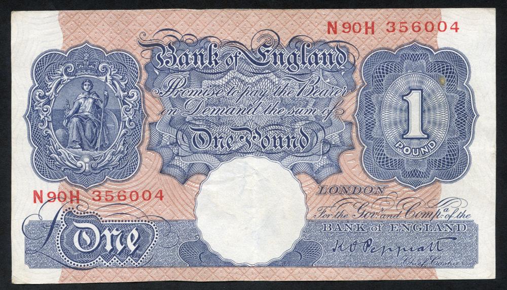 1940-48 Peppiatt £1 blue/pink, VF+++, Dugg 249