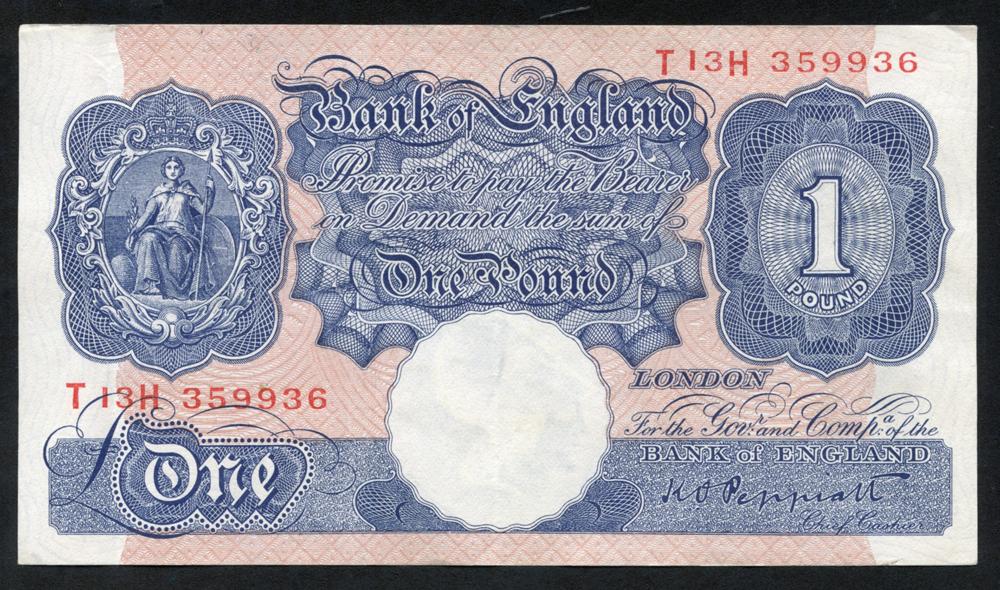 1940-48 Peppiatt £1 blue/pink, VF++, Dugg 249.