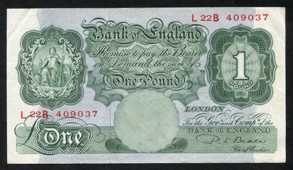 1950 Beale £1 green, VF, Dugg B268.