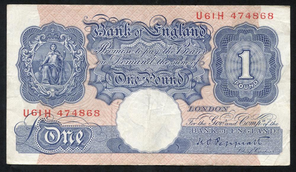1940-48 Peppiatt £1 blue/pink, VF, Dugg B249.
