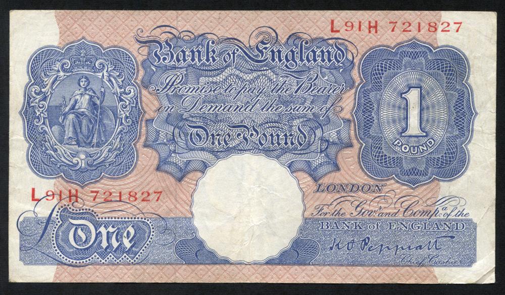 1940-48 Peppiatt £1 blue/pink, F++, Dugg B249