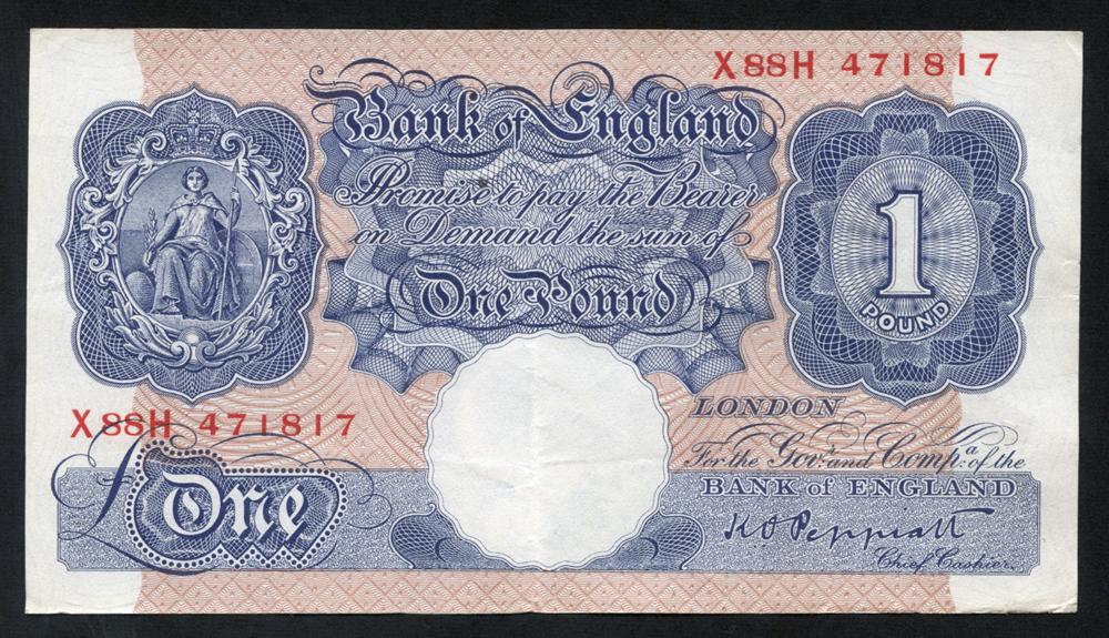 1940-48 Peppiatt £1 blue/pink, VF++, Dugg B249.