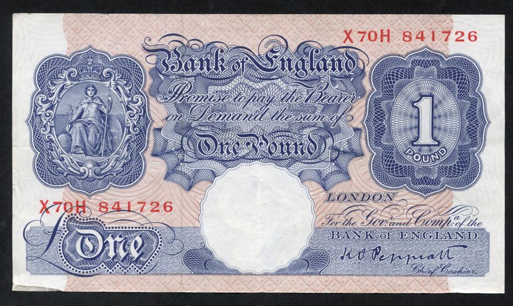 1940-48 Peppiatt £1 blue/pink, VF+++, Dugg B249