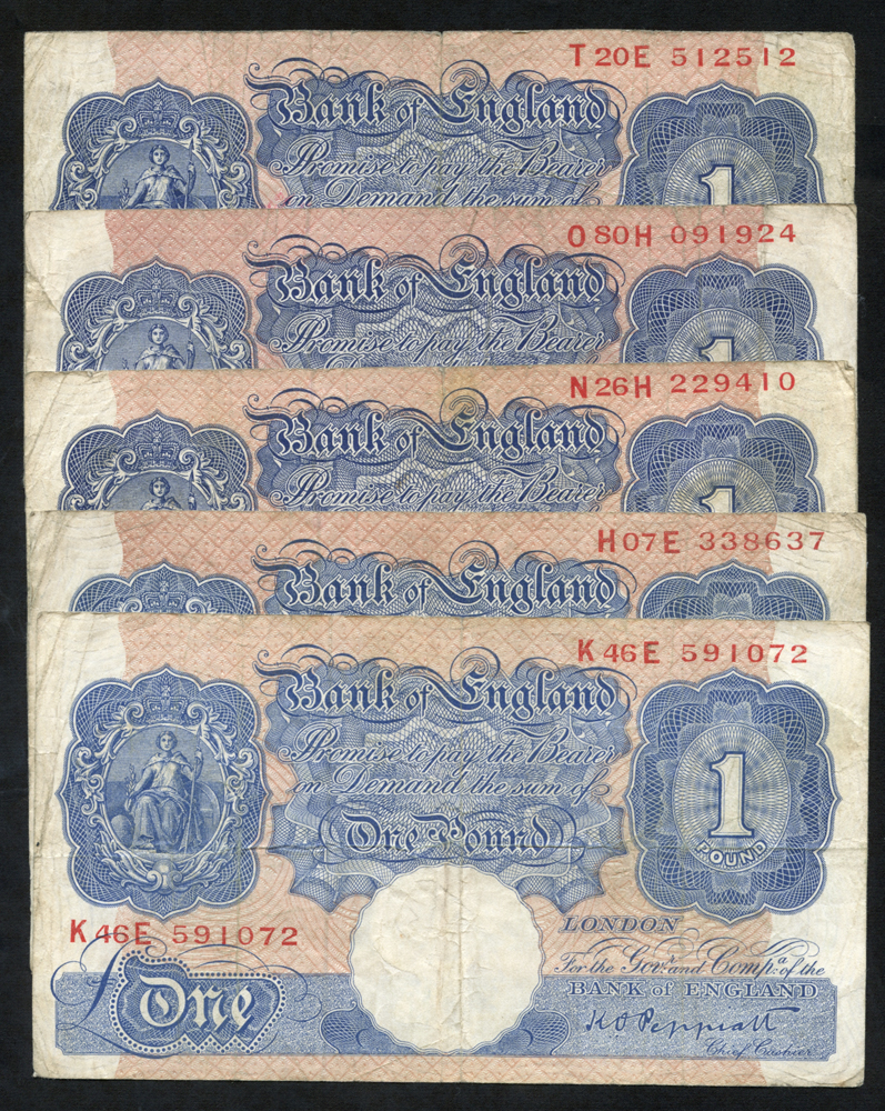 1940-48 Peppiatt £1 blue/pink x5, generally F, Dugg B249.