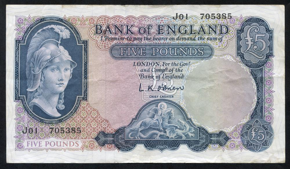 1961 O'Brien £5, Helmeted Britannia, Lion & key reverse, VF, Dugg B280