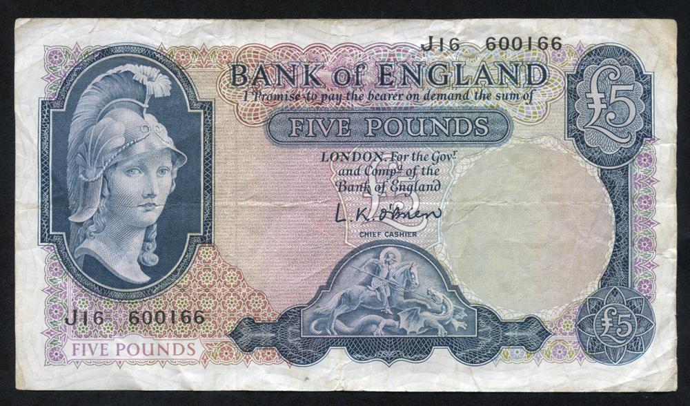 1961 O'Brien £5, Helmeted Britannia, Lion & key reverse, F+++, Dugg B280