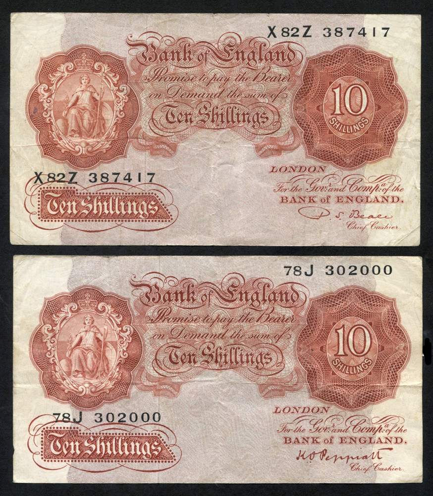 1948 Peppiatt 10s red brown, Dugg B262, 1950 Beale 10s red brown, Dugg B266, pair graded F-VF