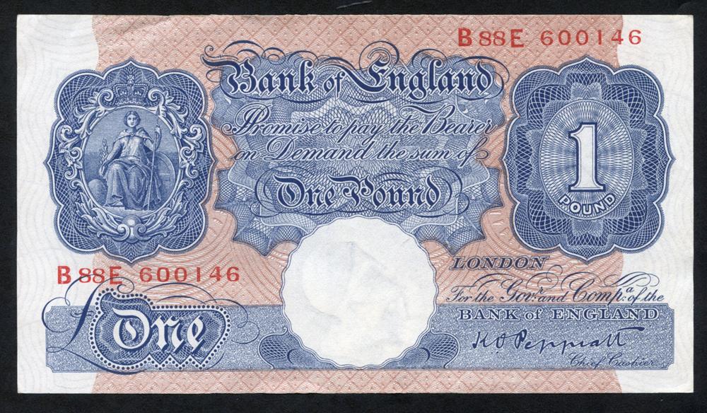 1940-48 Peppiatt £1 blue/pink, EF+++, Dugg B249