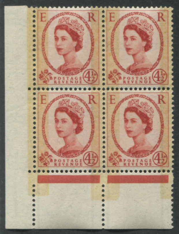 1959 Phosphor Graphite 4½d block of four, UM