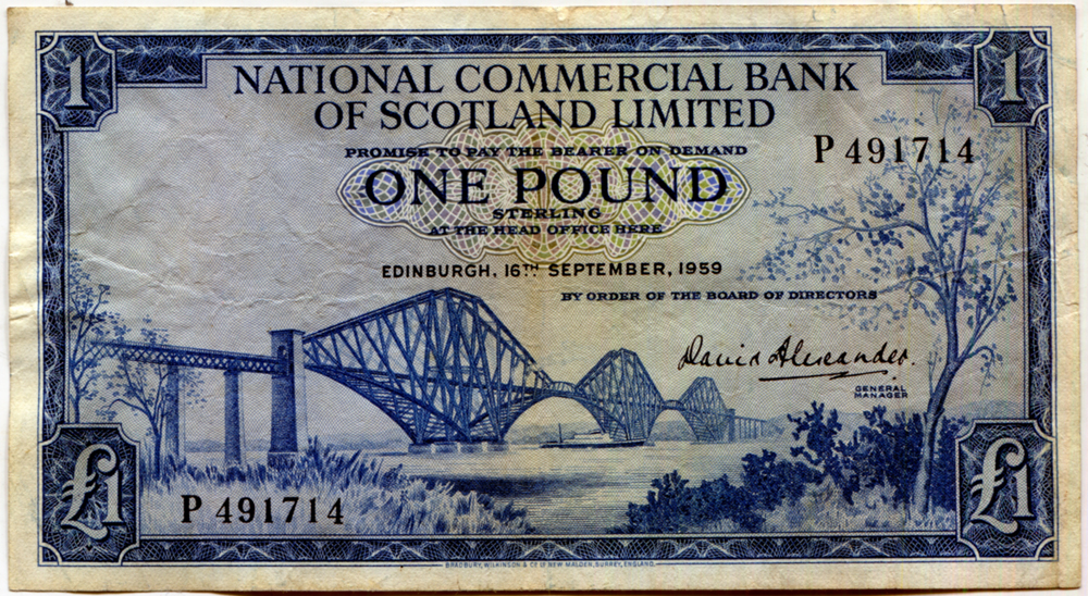 National Commercial Bank of Scotland Ltd 1959 £1 blue Forth Road Bridge