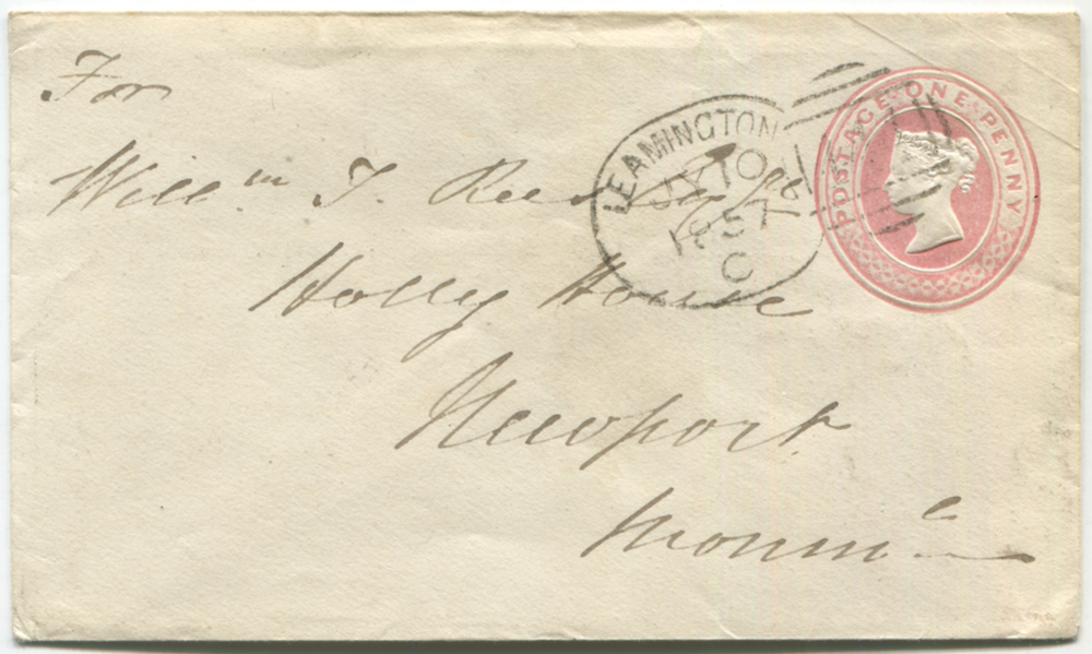 1857 One Penny pink stationery envelope to Newport, Monmouthshire