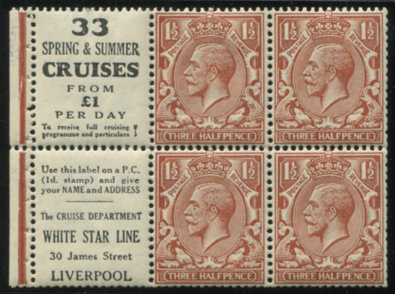 1924 Block Cypher 1½d Advertising booklet pane