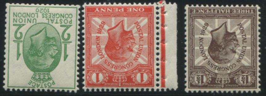 1929 PUC ½d, 1d & 1½d wmk inverted, UM