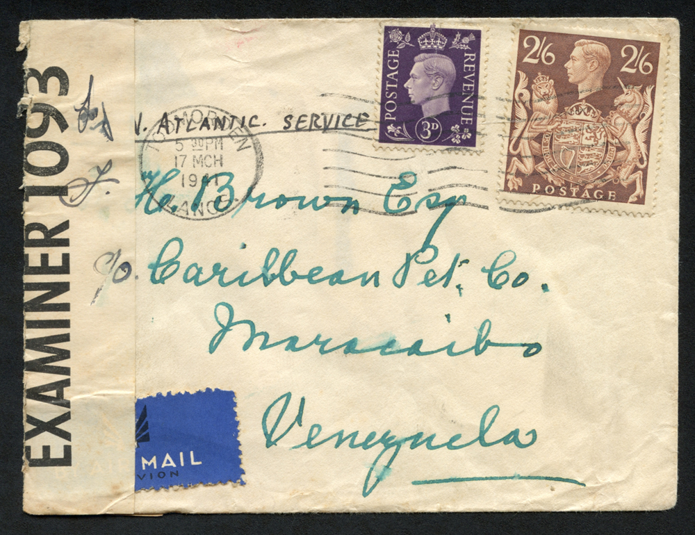 1941 March 17th Airmail cover from UK to Venezuela by North Atlantic service