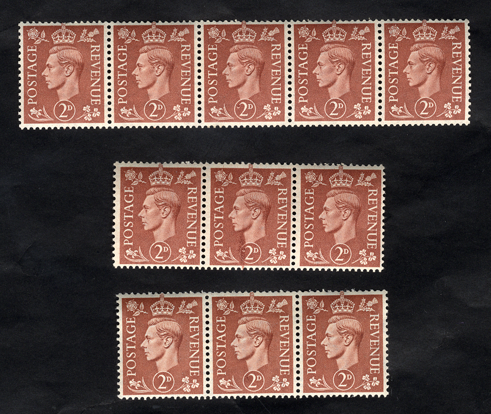 1951 2d pale red-brown horizontal UM strip of five incl. 'swan head' variety