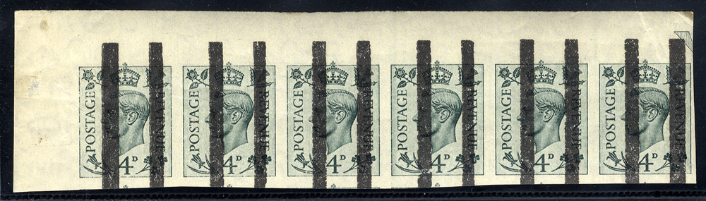 1937 4d grey-green IMPERFORATE strip of six with Post Office Training School black bars obliterators
