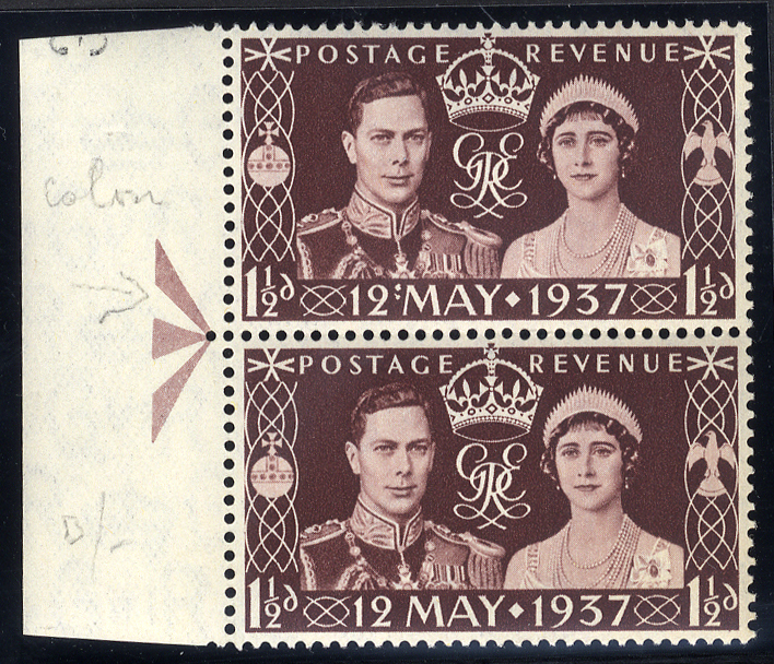 1937 Coronation 1½d UM vertical pair incl. 'colon flaw' variety