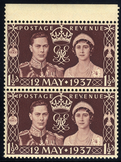1937 Coronation 1½d UM pair incl. 'extra decoration' variety