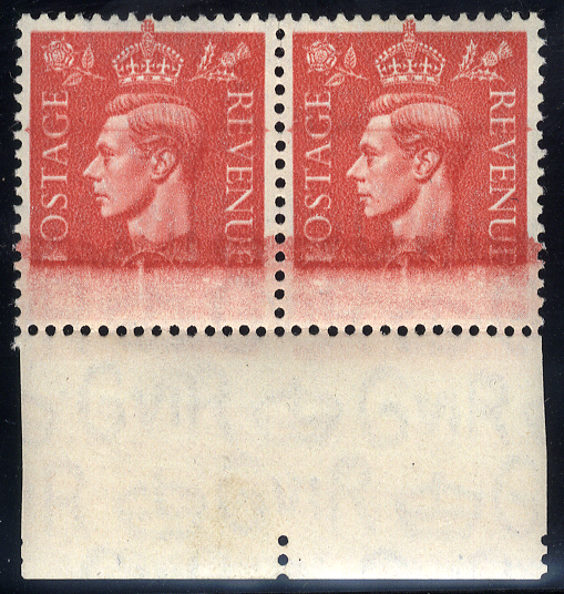 1941-42 1d pale scarlet M pair showing inking variety