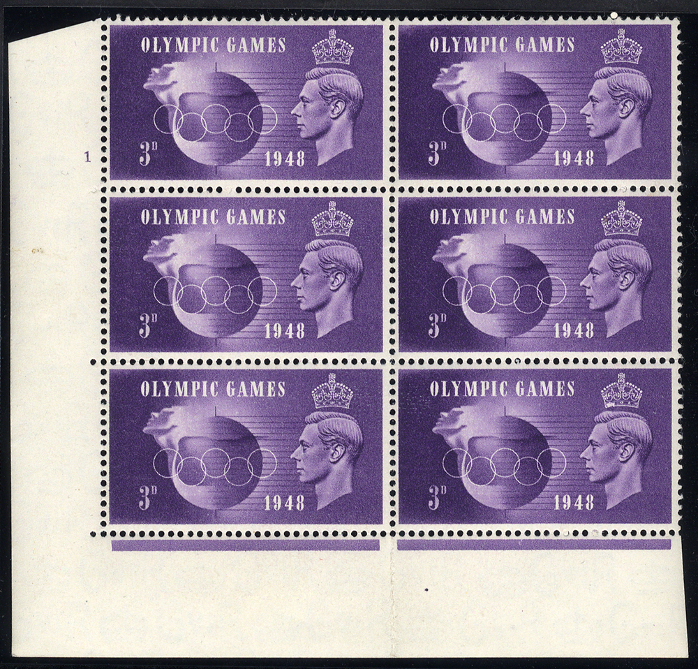 1948 Olympics 3d UM Cylinder block of six incl. variety 'crown flaw' retouched