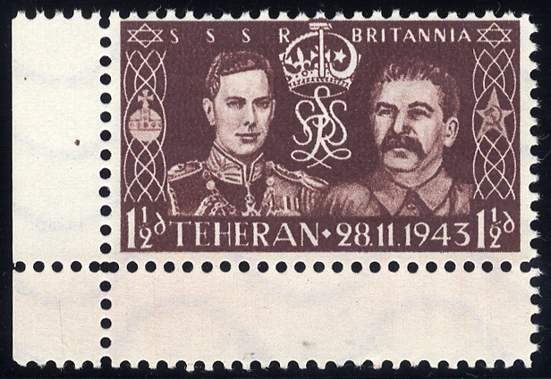 WWII German propaganda forgery of the 1937 Coronation stamp with Stalin instead of the Queen