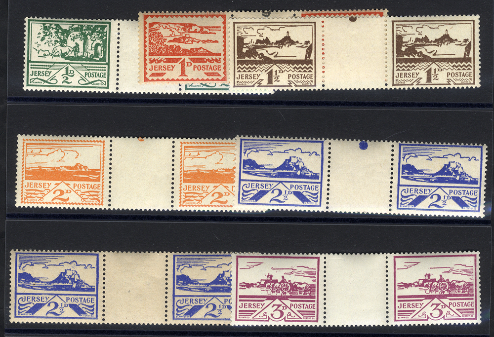 1943-44 Views set of six in UM gutter pairs